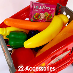 23 Piece Shopping Cart Kids Pretend Play Grocery Food Trolley Toy Set
