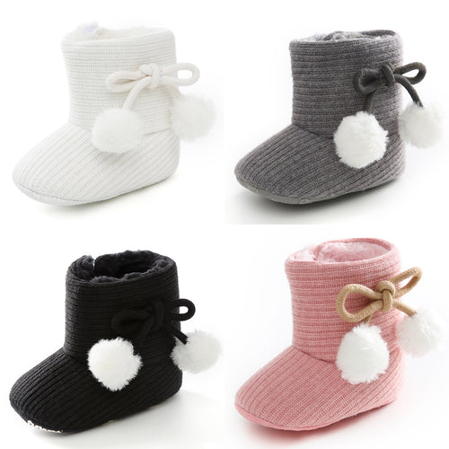 Knitted Baby Tassel Ball Girl Winter Boots First Walker Shoes