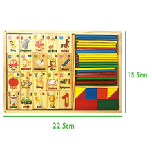 Load image into Gallery viewer, Multipurpose Math Alphabet Numbers Blocks Counting Domino Box Toy Set