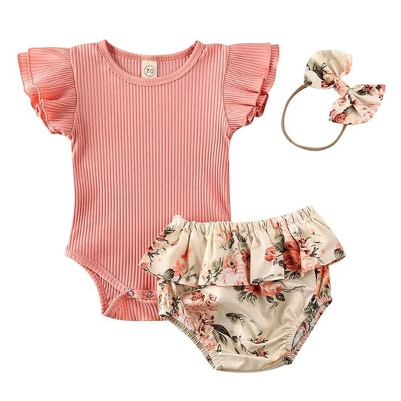 Floral Baby Girl Ruffled Romper Vest Nappy Pants Headband Set
