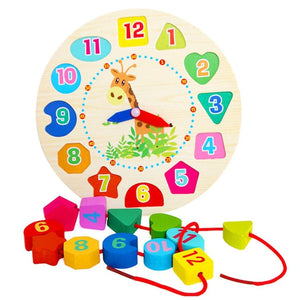 Geometry Time Telling Clock Learning Wooden Kids Shapes Puzzle Board Toy