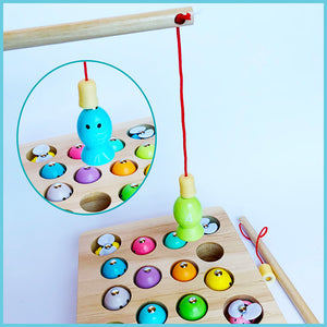 Magnetic Educational Wooden Kids Fishing Pole Rod Catch Game Toy Set