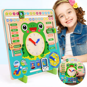 Kids Educational Frog Days Months Weather Seasons Time Clock Calendar Board