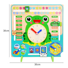 Load image into Gallery viewer, Kids Educational Frog Days Months Weather Seasons Time Clock Calendar Board
