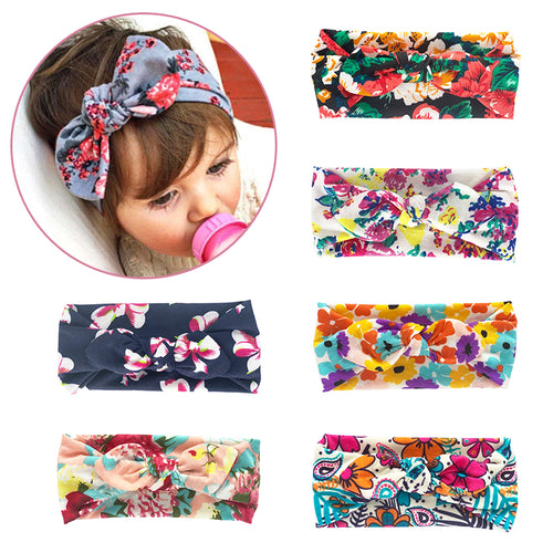 6 Piece Soft Stretchy Baby Girl Floral Knotted Bow Headbands