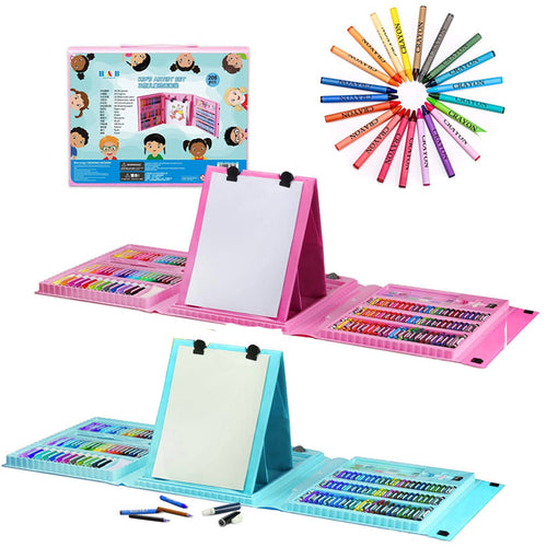 208 Piece Kids Art Set Pencil Crayon Oil Pastel Painting Drawing Easel Board Case Kit