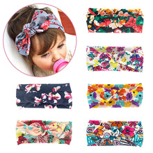 Load image into Gallery viewer, Soft Stretchy Baby Girl Floral Knotted Bow Headbands
