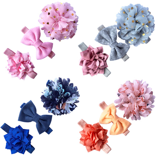 3 Piece Flower Ribbon Baby Girl Hair Bow Tie Accessories Headbands