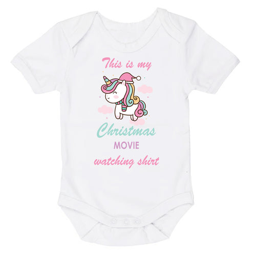 This Is My Christmas Movie Watching Shirt Unicorn | Christmas | Short Sleeve Baby Vest Bodysuit