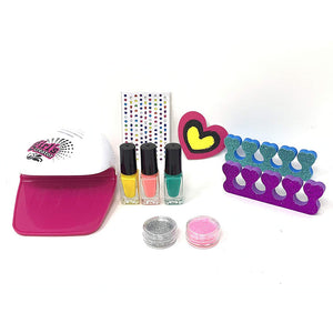 Glam Salon Fun Nail Polish Dryer Kit Girls Manicure Pedicure Glitter Set