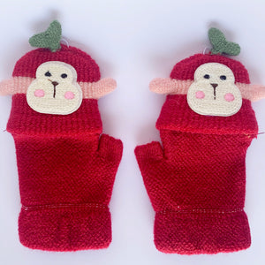 Monkey Puppet 2 in 1 Fingerless Winter Mittens