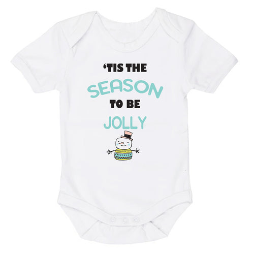 'Tis The Season To Be Jolly | Christmas | Short Sleeve Baby Vest Bodysuit