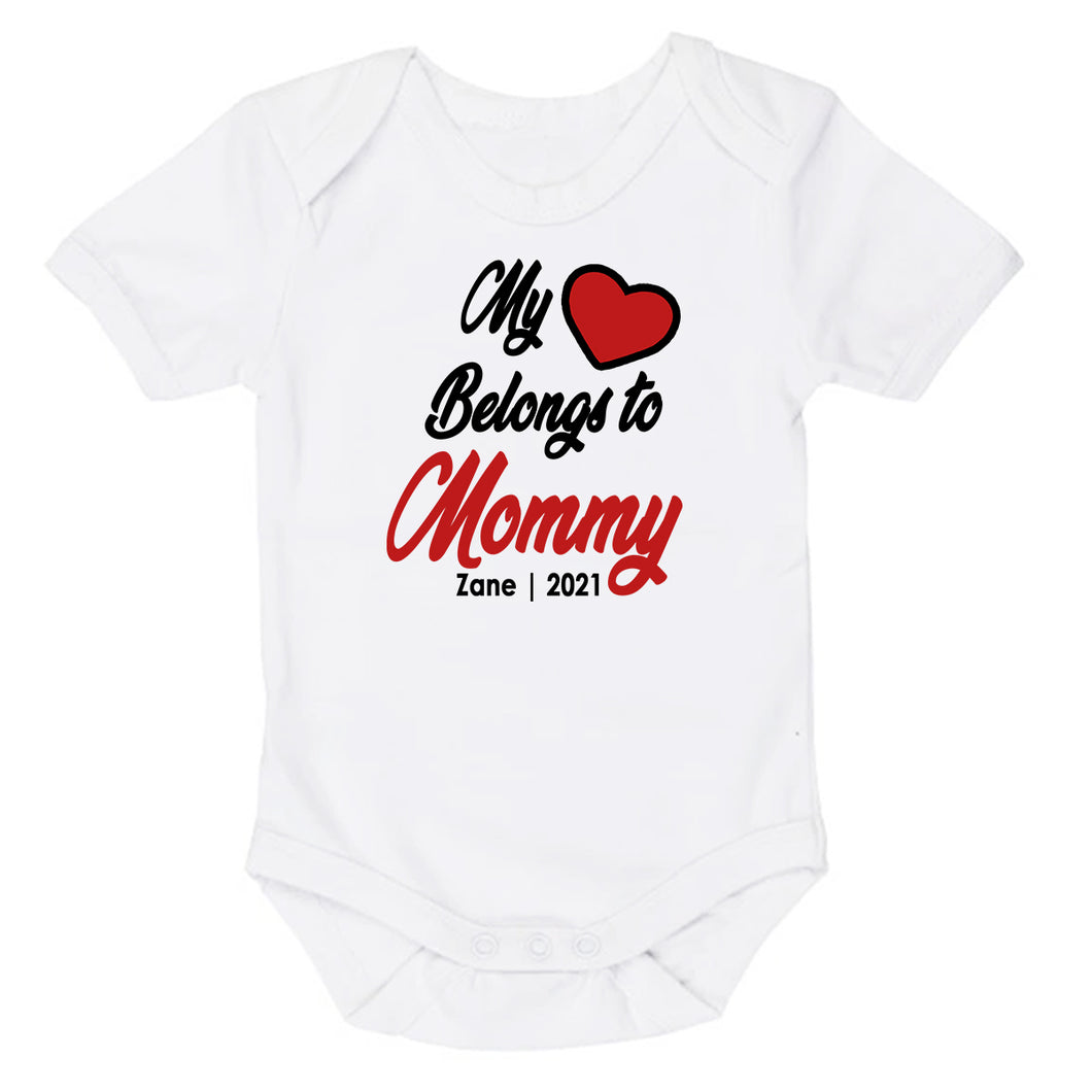 My Heart Belongs To Mommy Daddy | My Hart Behoort Aan Mamma Pappa | Custom Wording | Baby Vest Only