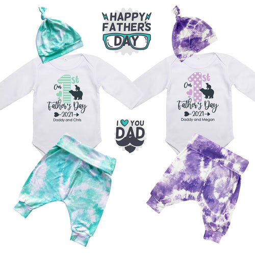 Our First Father's Day Clothing Set | Tie Dye | Custom Wording | Long Sleeve Bodysuit and Pants Baby Outfit