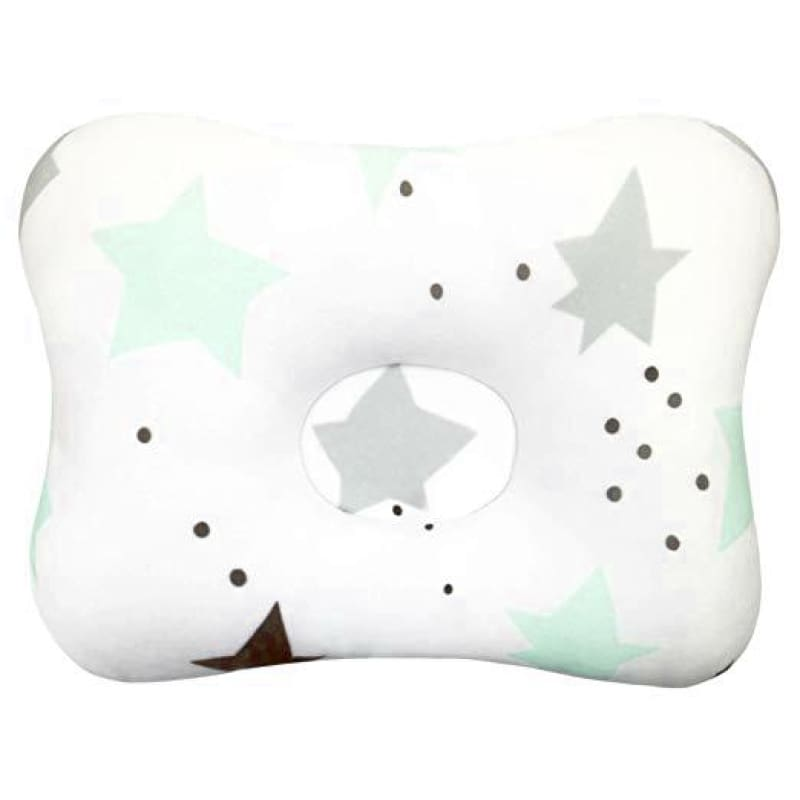 Flat Head Preventing Baby Pillow - Teal Stars with Dots - Pillows