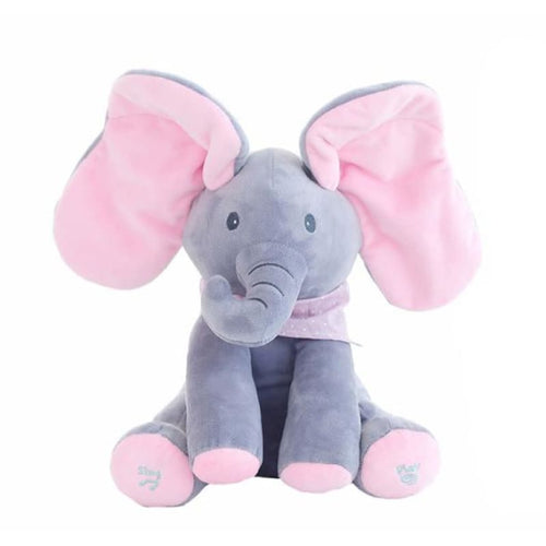 Peek-A-Boo Flopsy the Elephant Plush Toy - Pink and Grey - Toys