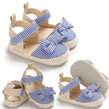 Load image into Gallery viewer, Soft Striped Bow First Walker Summer Baby Girl Shoes