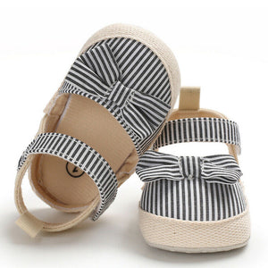 Soft Striped Bow First Walker Summer Baby Girl Shoes