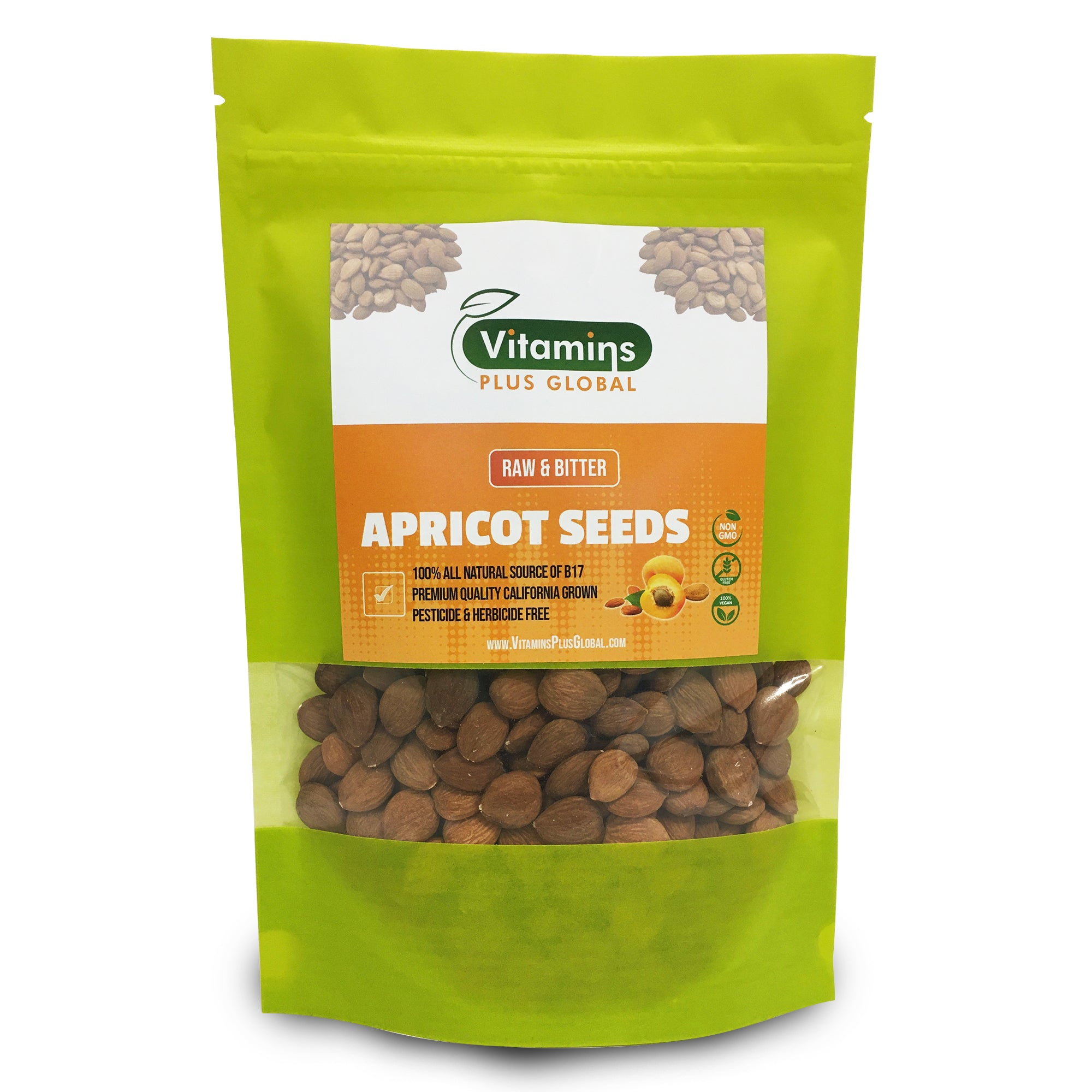 Bitter Apricot Seeds / Kernels, Natural Source of Vitamin B17, Large and Raw, Vegan, Non GMO, California Grown, Pesticide & Herbicide Free, In a Recyclable Stay Fresh Resealable Pouch 1lb