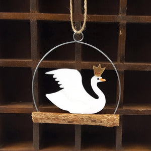 Regal swan metal & wood hanging Christmas decoration
