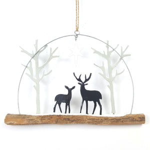Deer by starlight, rustic hanging metal & wood decoration.