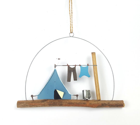 Camping in a blue tent - with added seagull! - metal & wood hanging decoration