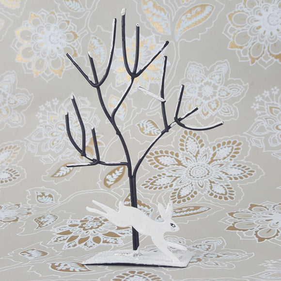 Arctic hare & snow-covered tree metal shelf decoration