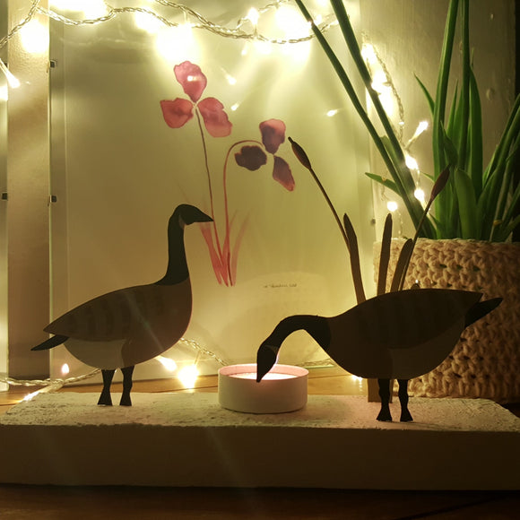 Canadian geese votive - metal candle/tealight holder