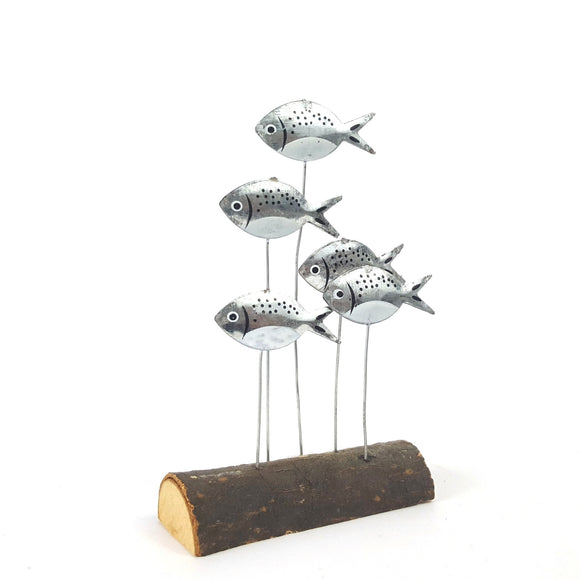 Chunky silver bream metal & wood shelf decoration