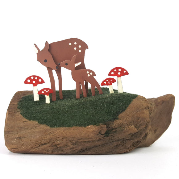 Fawn & deer among the toadstools - metal & wood shelf decoration
