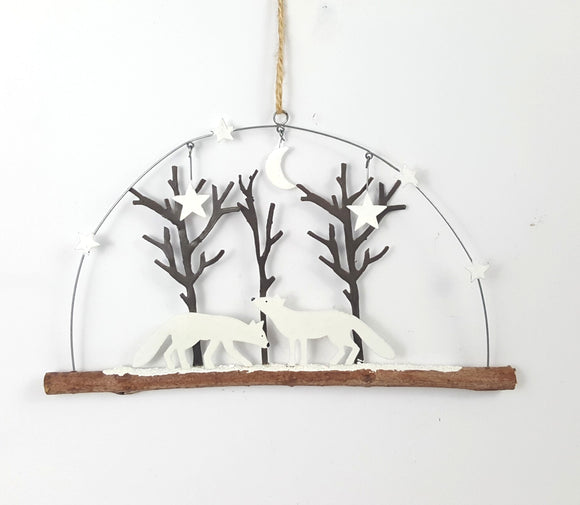 Foxes in the woods - metal & wood hanging decoration