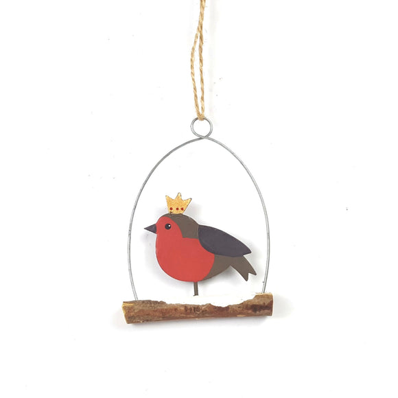 Regal robin metal & wood Christmas tree decoration