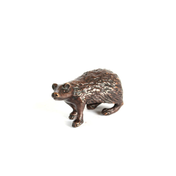 miniature bronze badger sculpture by David Meredith