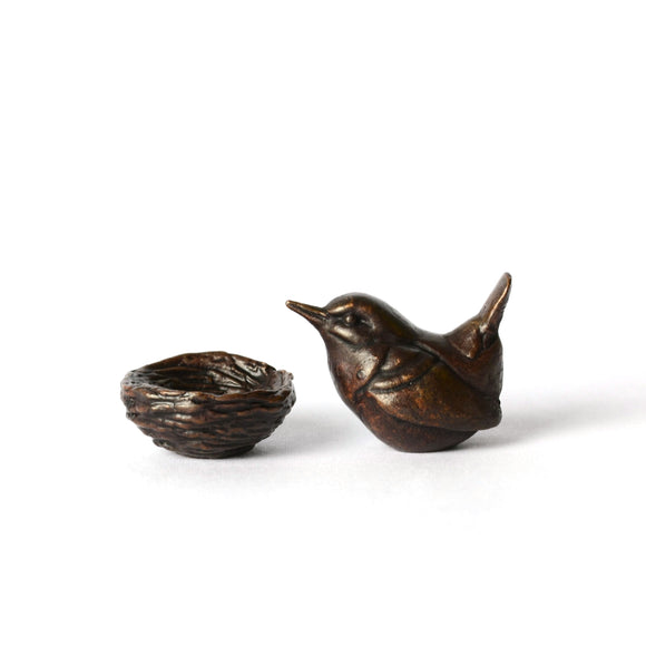 Jenny wren on nest - miniature two-part bronze sculpture by David Meredith
