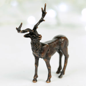 Standing stag - miniature bronze sculpture