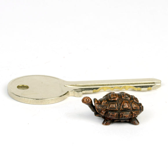Tortoise - tiny bronze reptile sculpture by David Meredith