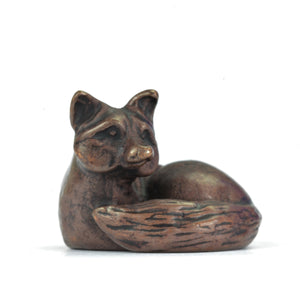 Lying down fox - miniature bronze sculpture by David Meredith