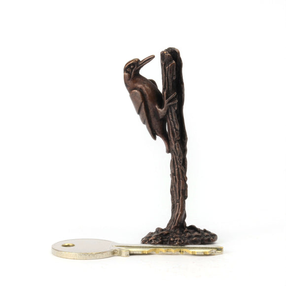 Woodpecker on tree stump - miniature bronze sculpture