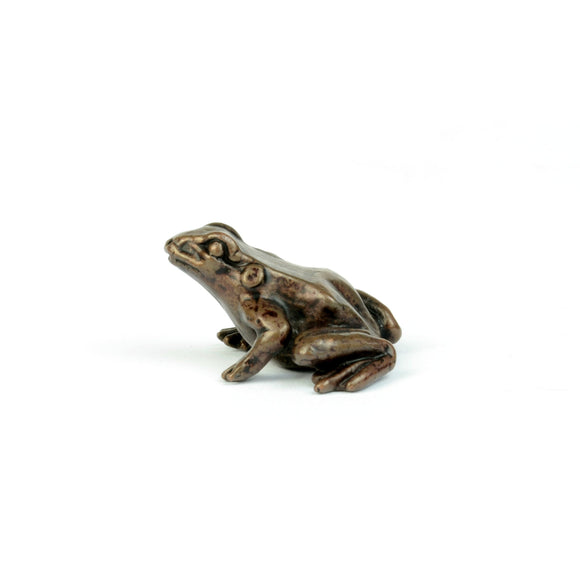 Tiny bronze frog, miniature sculpture & gift for gardeners