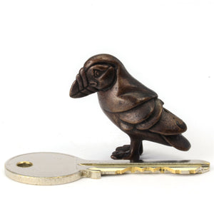 Miniature bronze puffin sculpture