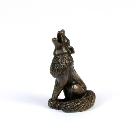 Howling wolf - miniature bronze sculpture by David Meredith