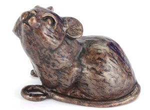 Sitting mouse - life-size bronze sculpture by David Meredith
