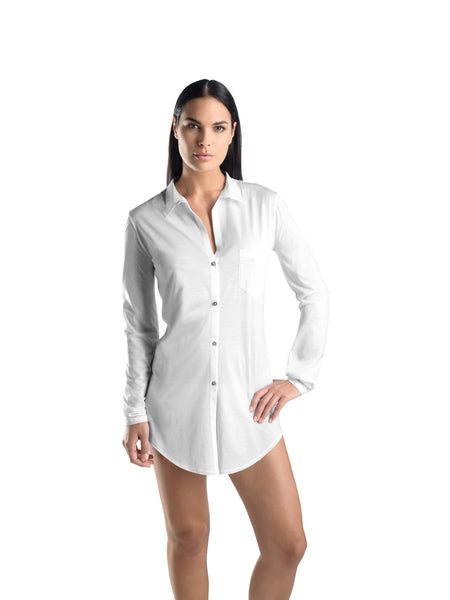 Hanro COTTON DELUXE Long Sleeve Short Nightshirt (07 7958)