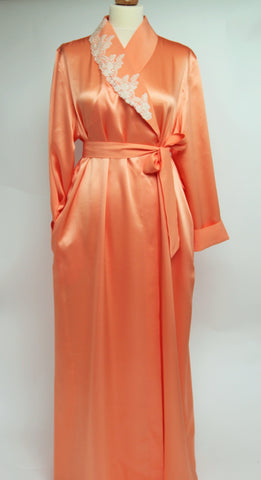 Shawl Collar Pure Silk Full Length Dressing Gown 235699