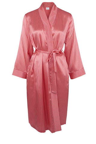 Allegra Pinstripe Pure Silk Short Robe 214566