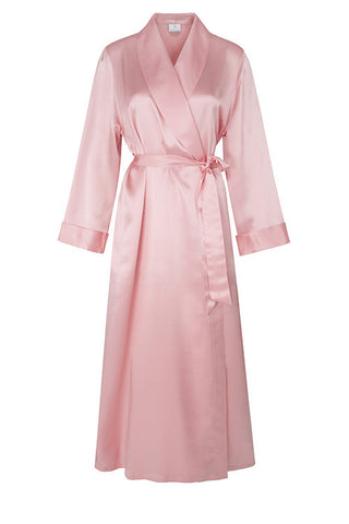 Shawl Collar Pure Silk Full Length Dressing Gown 255070