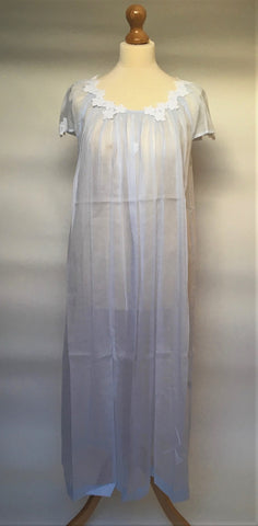 Olivia 2NH Cap Full Length Mousseline Nightdress (In stock, 3 day delivery)