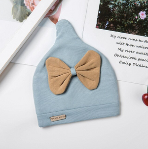 """The Little Bow Peep""         Natural Organic Cotton Soft Newborn Hat With bow"