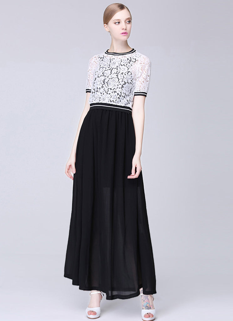 Contrast Colored Lace Chiffon Maxi Dress with White Top and Black Skirt