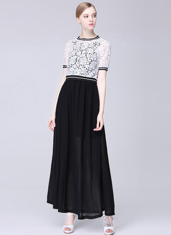 Contrast Colored Lace Chiffon Maxi Dress with White Top and Black Skirt RM567